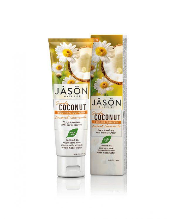 Zubná pasta Jason SIMPLY COCONUT skľudňujúca s harmančekom - 119 g